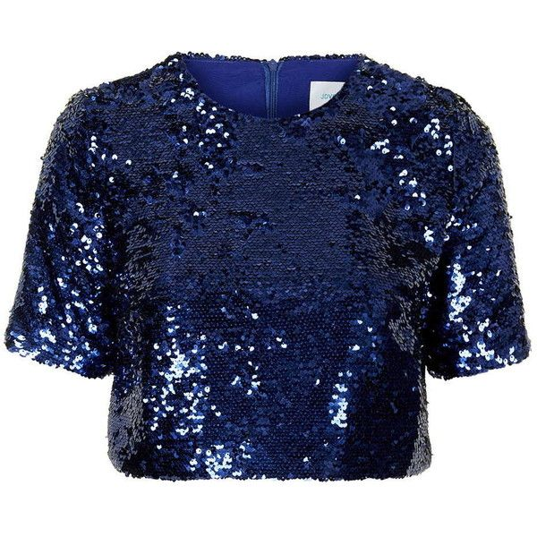 TOPSHOP **Maria Sequin Crop Top by Jovonna (1,275 MXN) ❤ liked on Polyvore featuring tops, shirts, crop, crop tops, blue, loose fit crop top, sequin shirt, party tops, polyester shirt and night out tops