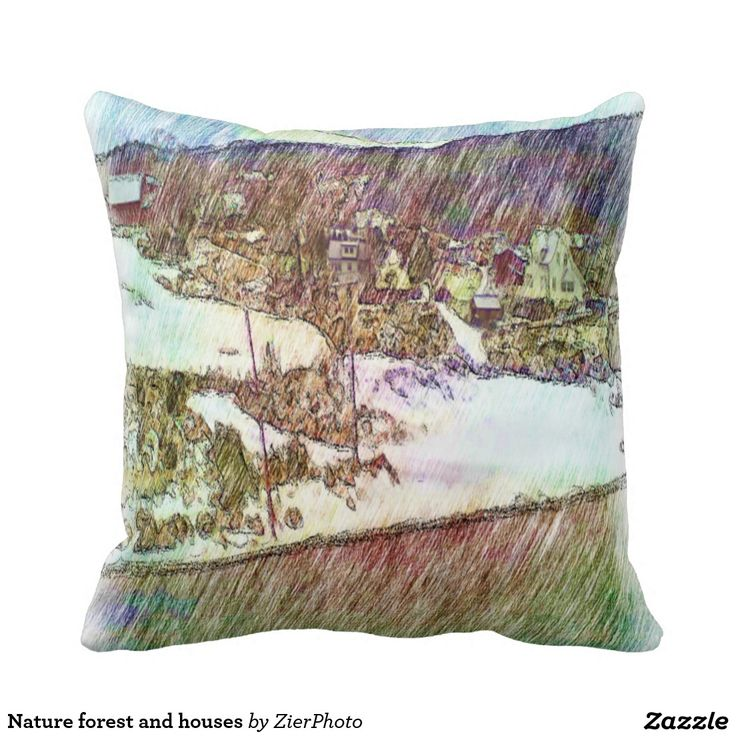 Nature forest and houses pillow