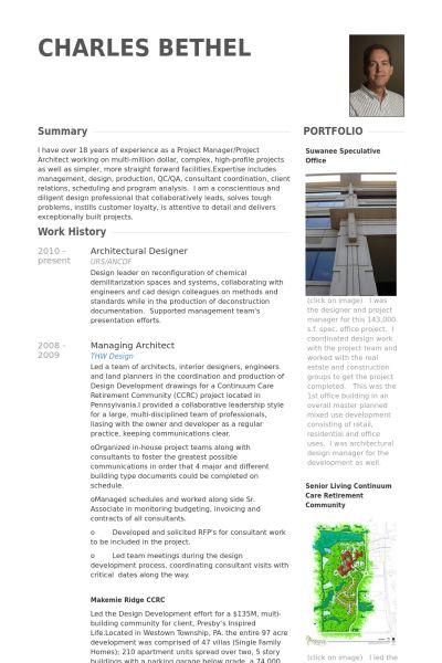 architectural designer مثال على السيرة الذاتية
