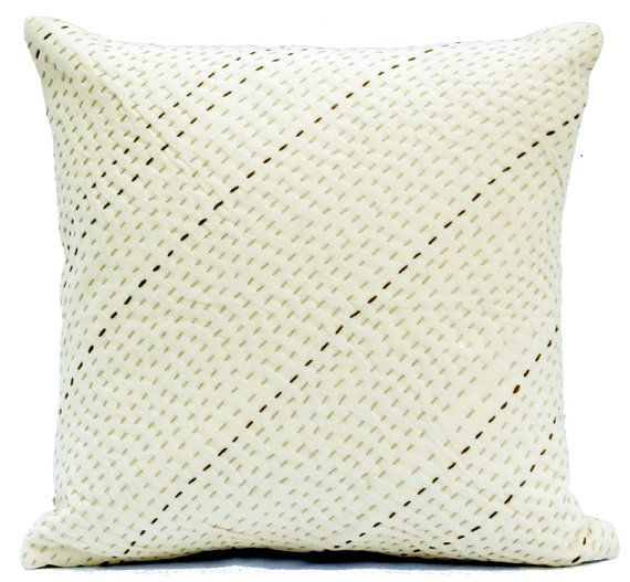 Ivory Pillow Minimalist Pillow  Couch Pillow Bed Pillow Japanese Embroidery  Decorative Throw Pillows Sashiko Quilt Modern Pillow