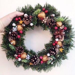 різдво, ялинка, вінок, подарунок, прикраса, декор, новорічний, новий рік, венок, новый год, рождество, шишки, золото, украшение, на двери, ель, сосна, christmas, decor handmade