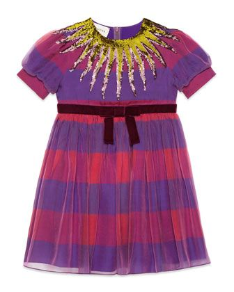 Gucci | Short-Sleeve Striped Sequin Dress, Size 4-12 | $1,190.00