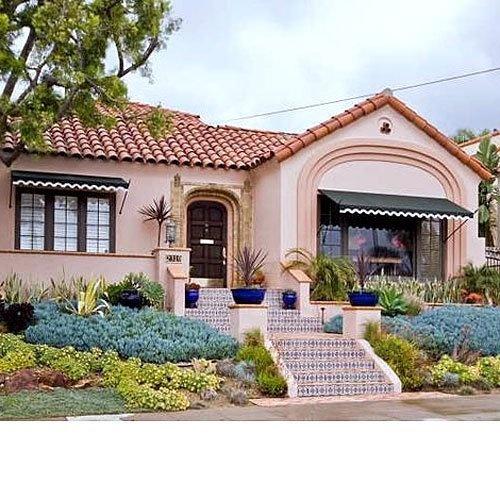 Front yard with  blue Senecio mandraliscae