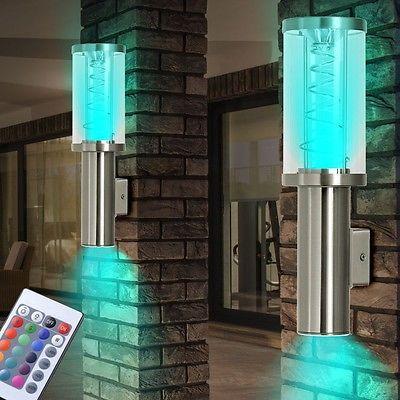 Vintage RGB LED Au en Wand Beleuchtung Up Down Strahler Leuchte Fernbedienung dimmbar