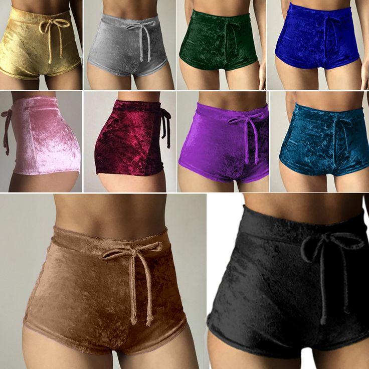 2017 Femmes Velours Cordon Shorts Casual Taille Haute Printemps  Été Sexy Maigre Pantalon Court
