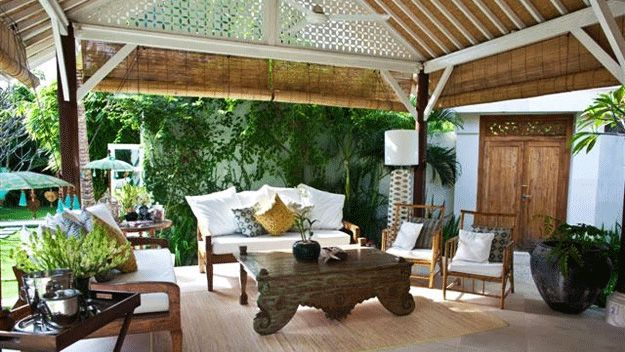 bali style houses | Chic style at the Bali Goddess Villa living room.