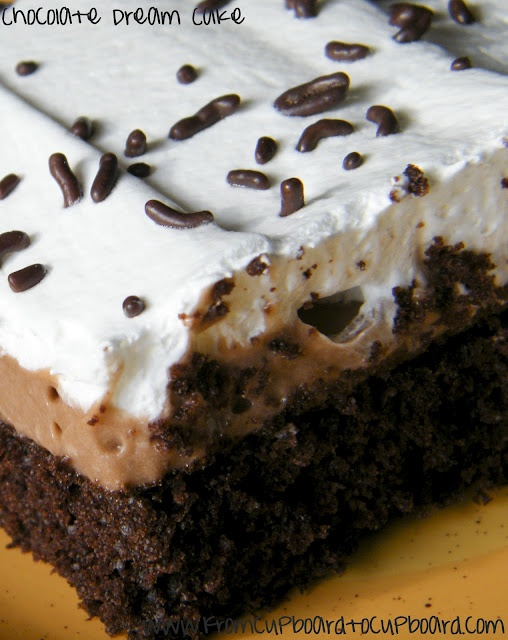 Chocolate Dream Cake! Easy and absolutely delicious!!  I have made this darn good recipe from my friends blog, and it was heavenly!!