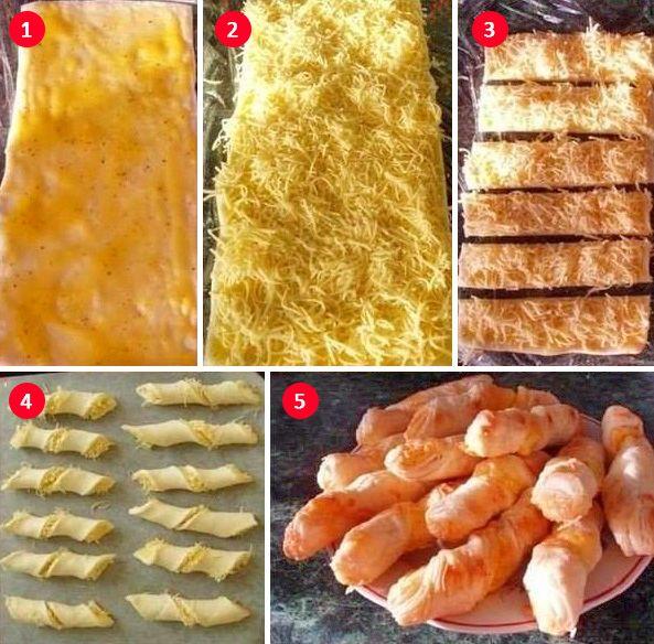 Сырные палочки  Шаг 1. Разморозь покупное слоеное тесто. Смажь яичным желтком с солью и перцем. Шаг 2. Натри на мелкой терке сыр и положи его на смазанное тесто. Шаг 3. Разрежь тесто на полоски шириной примерно 2 сантиметра. Шаг 4. Перекрути кончики полосок в разные стороны — жгутом. Шаг 5. Выпекай в духовке при температуре 200 °C 20 минут. Перед выпеканием можно посыпать кунжутом.