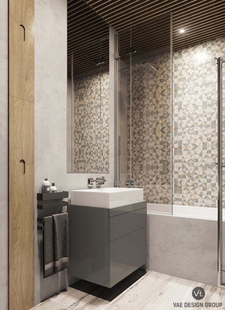 серо-деревянные тик ванной-вкрапленные-серо-бело-плиточные