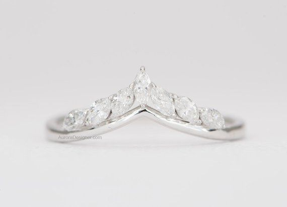Marquise Diamond Ring 14k Gold Crown Wedding Band Curve Unique Etsy Engagement Rings Marquise Marquise Diamond Ring White Gold Rings