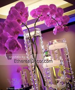 crystal: Crystals Wedding, Centerpieces Ideas, Orchids Centerpieces, Decor Ideas, Glasses Vase, Crystals Centerpieces, Manzanita Trees Centerpieces, Wedding Centerpieces, Crystals Garlands Centerpieces