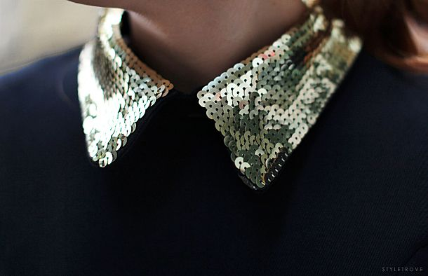 #collar: Fashion, Inspiration, Gold Sequins, Gold Collars, Sequin Covered, Covered Collar