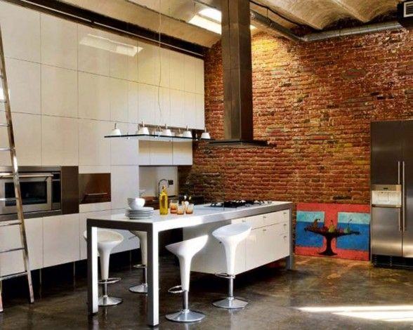Home Design Loft Kitchen Designs Modern Loft With Industrial Bricks Element  For Apartment Ideas Modern Part 97