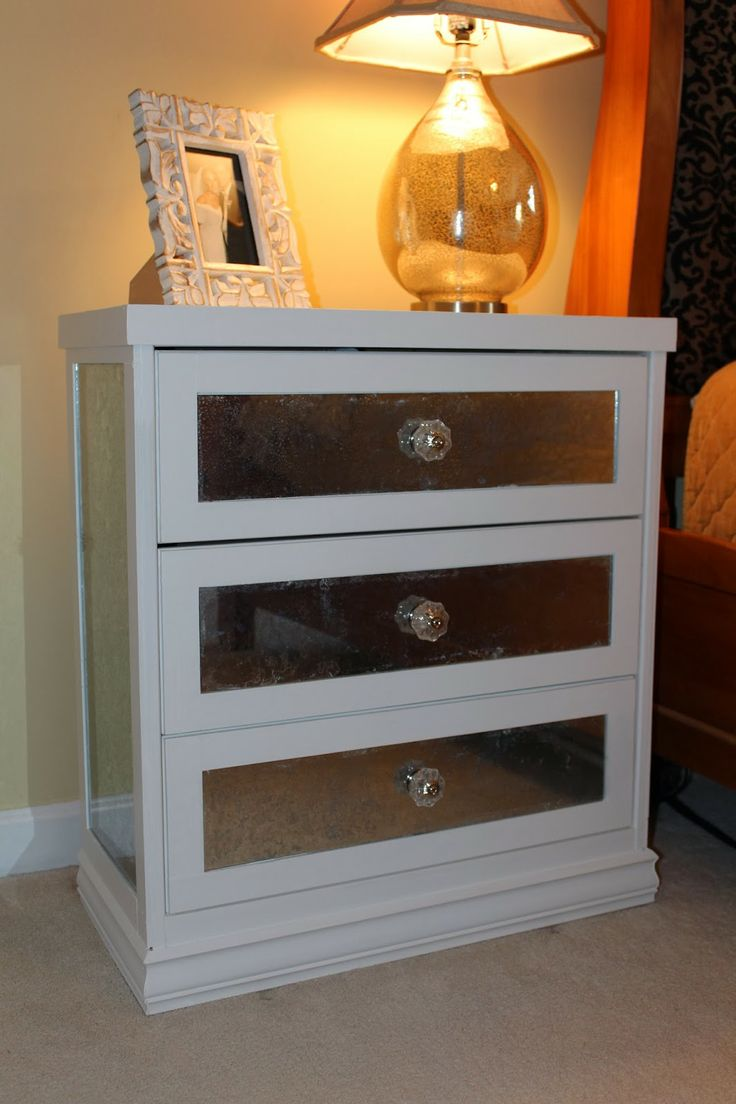 Antsi-Pants: DIY Mirrored Nightstand IKEA Rast Hack