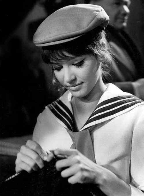 cheap shoes nikes Anna Karina knitting between takes on the set of Une femme est une femme     Sexy  Anna Karina Anna and Sailors