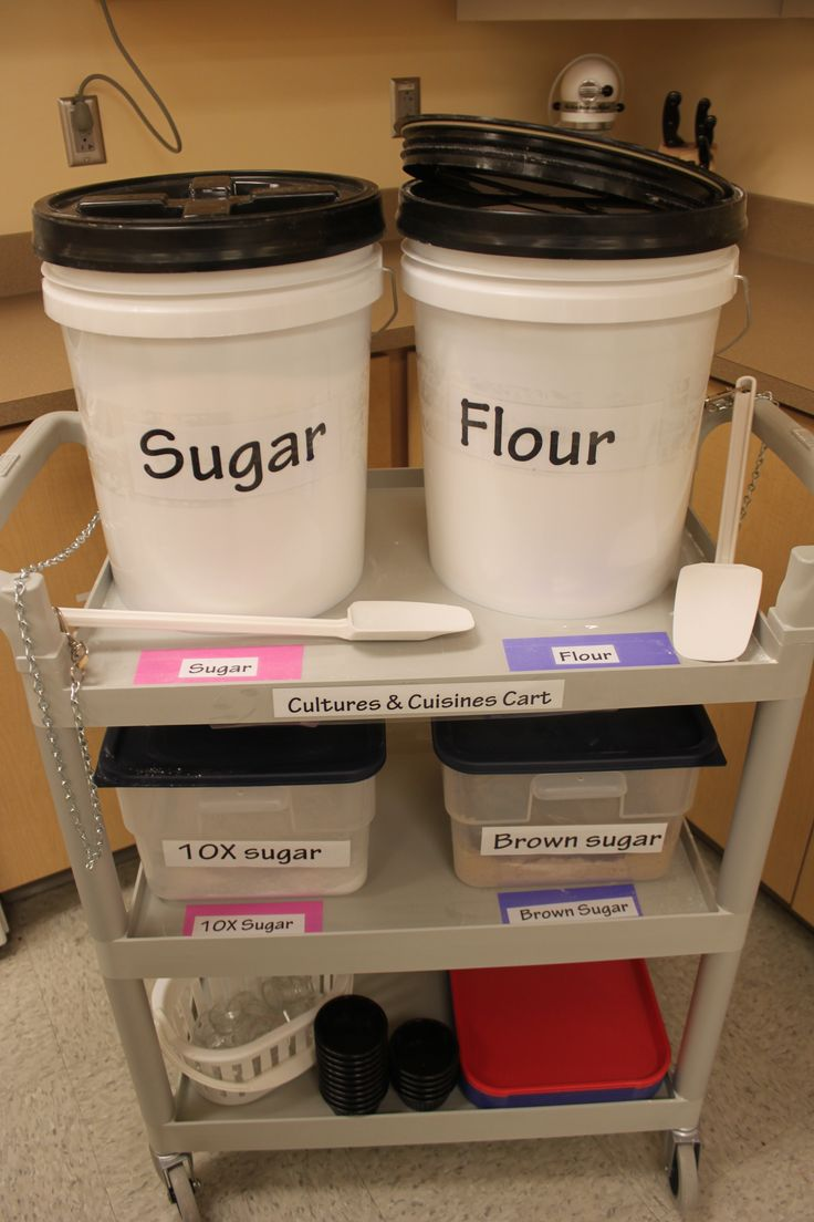 I created this cart for my FACS Cooking Classroom. I holds common ingredients and small cups to take them spices back to kitchens for food prep. www.lanefacs.com