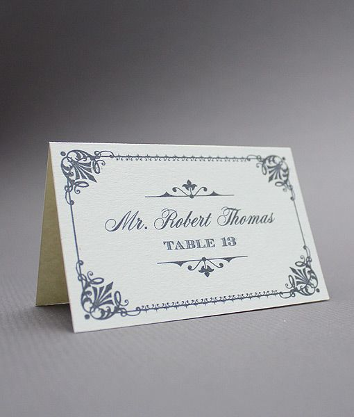 DIY vintage place cards from #DownloadandPrint. Use for a #wedding or event. http://www.downloadandprint.com/templates/ornate-vintage-type-place-cards/