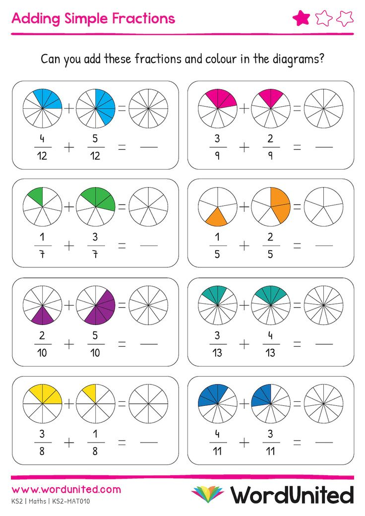 Adding Simple Fractions   Colour & Write   Fractions ...