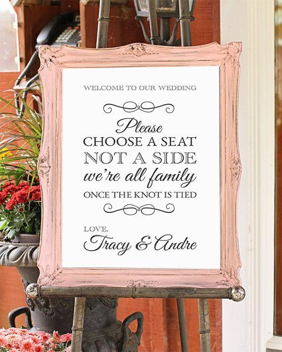 Choose A Seat Not A Side Wedding Sign Shabby Chic Wedding Decor DIGITAL FILE