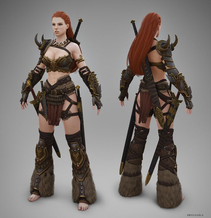 Barbarian Female T-pose by Bogdanbl4 | Tools: Maya / photoshop, zbrush, DeepPaint 3D, Marmoset Toolbag