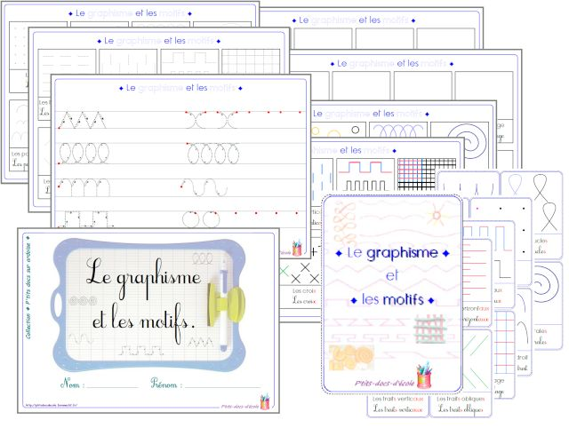 Fichier ♦ le graphisme & les motifs  imprimez, découpez et collez de sorte à obtenir 8 cartes recto-verso puis plastifiez. L'enfant suivra du doigt les différents graphismes et motifs pour affiner son geste. Avec de la pâte à modeler, il reproduira les modèles.