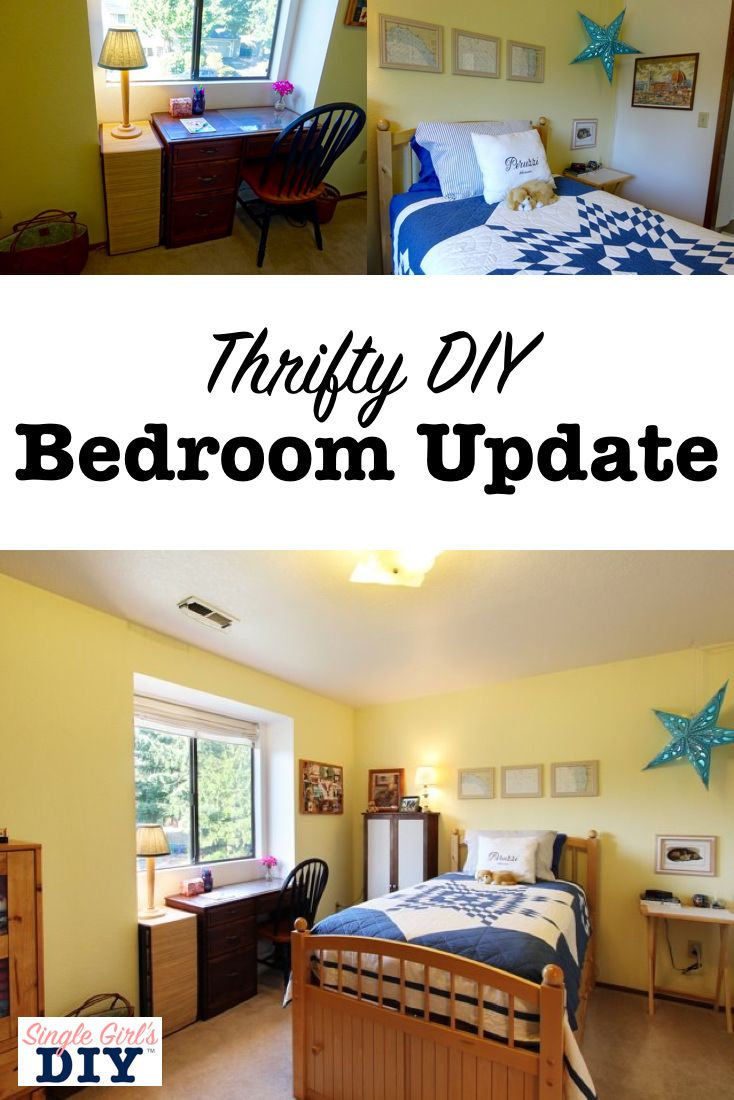 Bright And Cheerful Thrifty Bedroom Makeover Bedroom Decor On A Budget Small Bedroom Makeover Bedroom Makeover