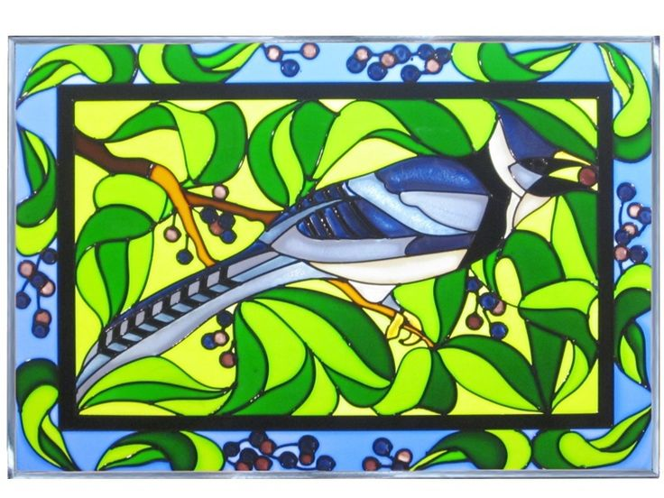 stained glass art nik | ... Stained Art Glass BLUE JAY Bird Hanging Window Suncatcher - Art Glass
