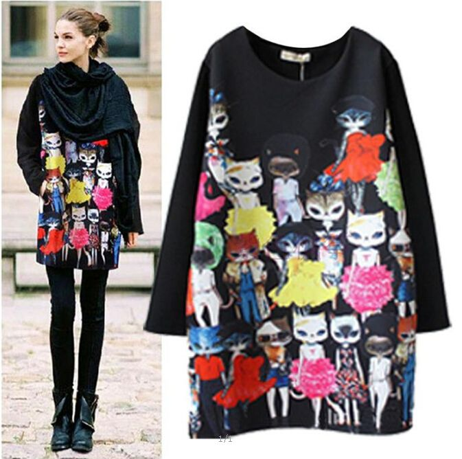 2017 New Spring Women Midi Party Dress Vestidos Miss Kitty Vestido Long Sleeve Loose Ladies Cats Print Dresses Plus Size M-4XL