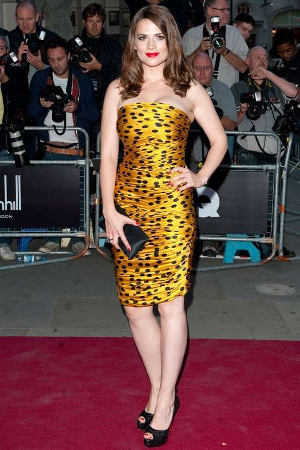 Hayley Atwell in Gold Polka Dot Bandeau Dress