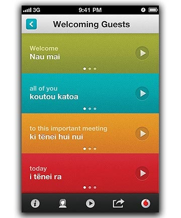 Te Reo Maori - launch of the Hika Lite app. Free on iTunes or Vodafone website
