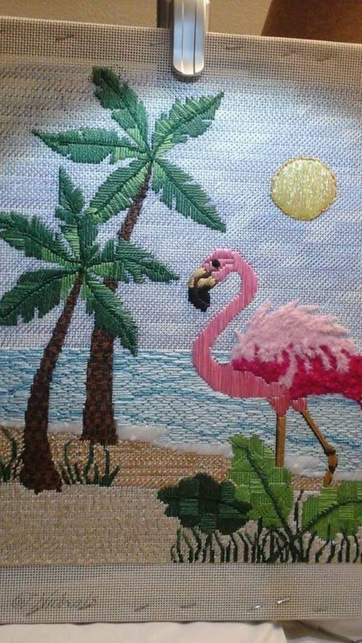 needlepoint flamingo, designer unknown