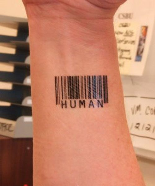 Barcode Tattoo- what muppit has a barcode as a tattoo
