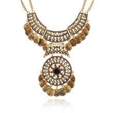 2015 Collar Vintage Nueva Bohemia Moda Collier Femme Plastron collar de la borla de la moneda Gypsy étnico Maxi Colar Collar para mujer (China (continental))