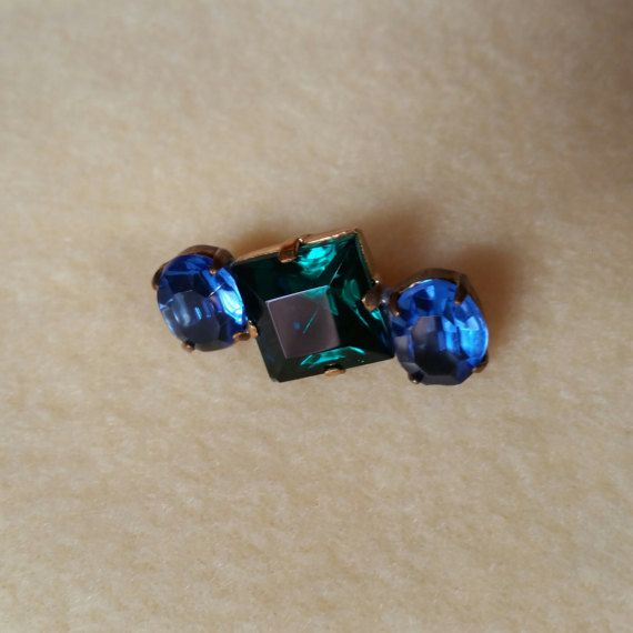 Vintage Czech Glass Rhinestone Button emerald green by plarnstar