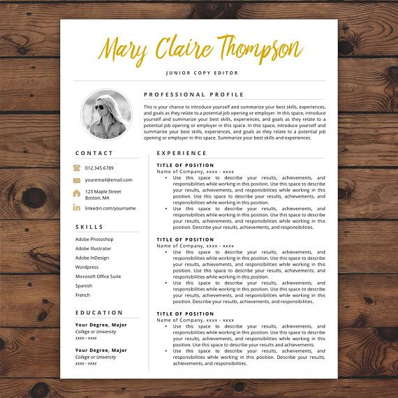 1-Page Creative Resume Template with Photo for Microsoft Word  Mac - Copy Editor Resume