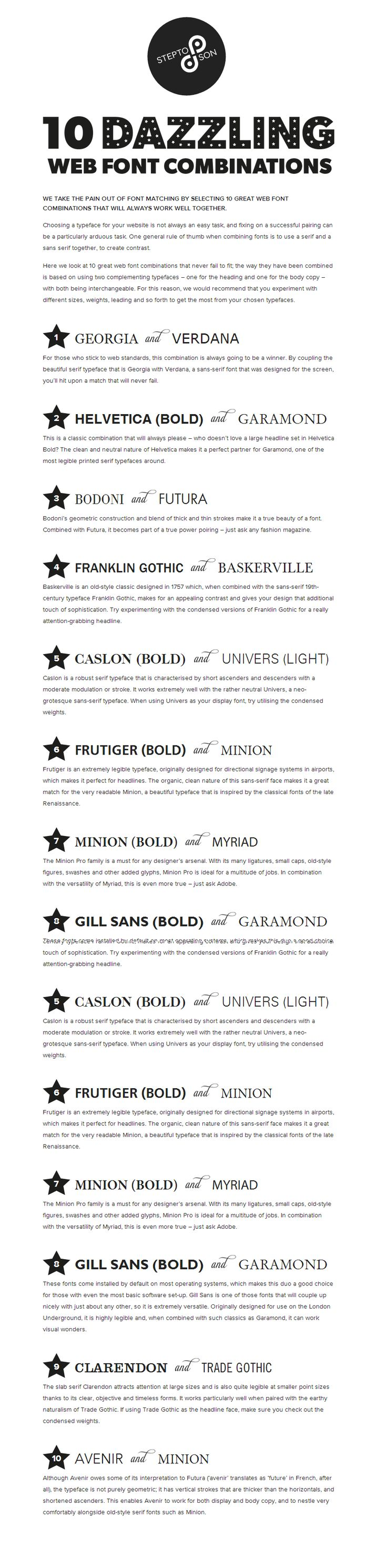 best ideas about resume fonts graphic designer 10 great web font combinations my fave is the number 1 combo