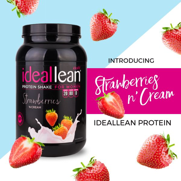 Sweet Strawberries meet silky cream in our NEWEST IdealLean Protein flavor, Strawberries 'N Cream!  https://idealfit.com/product/ideallean-protein-strawberries-n-cream  Strawberries 'N Cream IdealLean Protein combines a classic delicious taste with only the BEST whey protein for women available.  At only 80 calories and ZERO grams of sugar, carbs or fats, Strawberries 'N Cream IdealLean Protein helps women stay lean and toned, not bulky.    We're introducing this new amazing flavor for a…