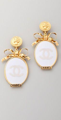 Vintage Chanel CC Bow Mirror Earrings