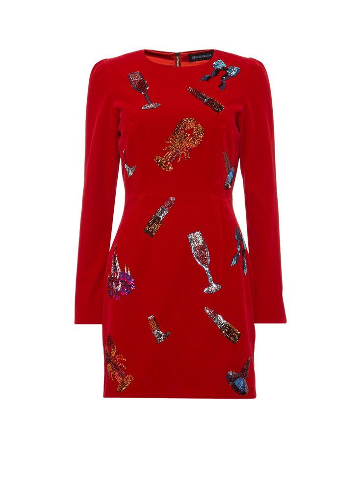 House of Holland Fluwelen jurk met pailletten • de Bijenkorf