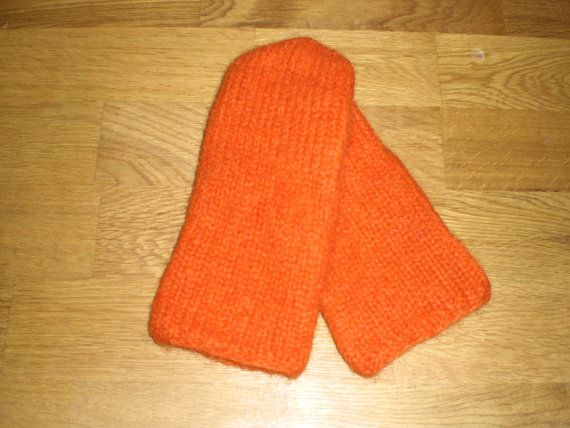 Icelandic mittens,orange mittens,felted mittens,hand knitted mittens,unisex, size S-M-L-XL and mittens for kids