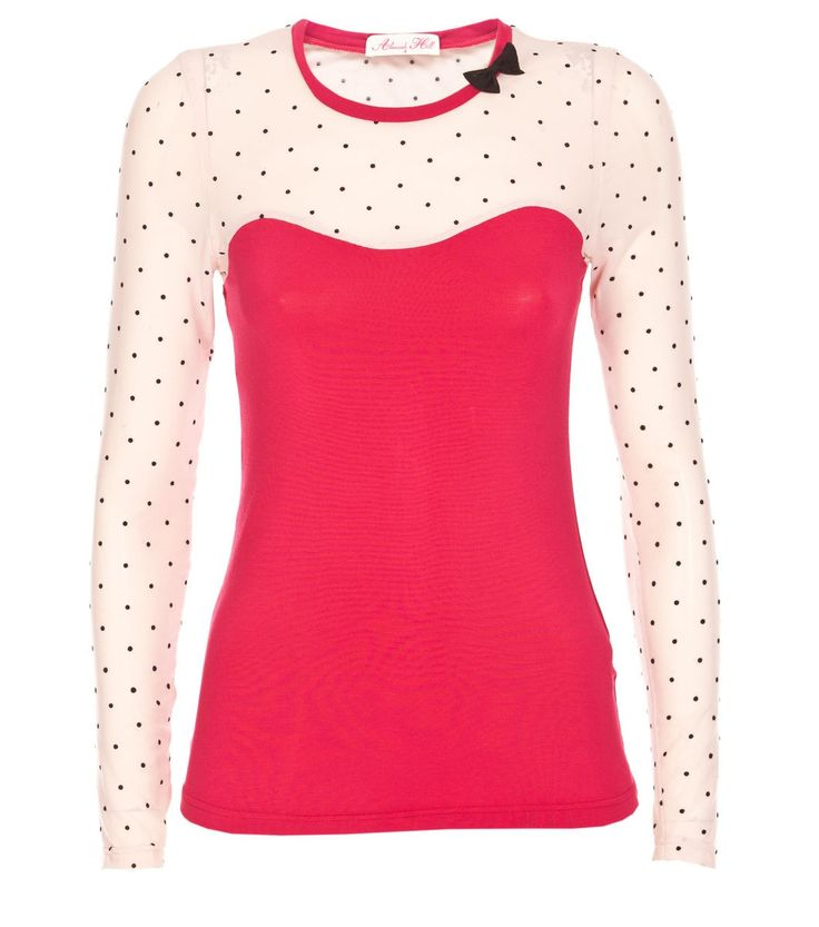 Alannah Hill - Sweet Like My Honey Top- Sweet like My Honey is a fitted soft knit top with a sweetheart mesh yoke feature. The mesh yoke and sleeves are flocked with sweet little velvety polka dots. This top makes a great outfitting piece to wear with our Autumn/Winter skirts and cardis, in classic Black or Rasberry/Blush colourways.