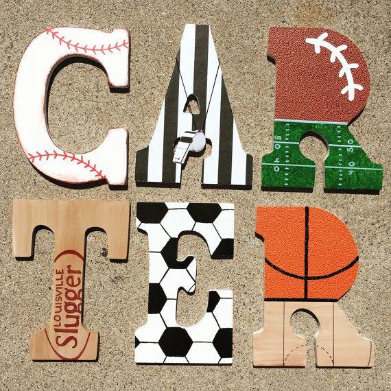 Wooden Sports Letters Wood Sport Initials by KidMuralsbyDanaR