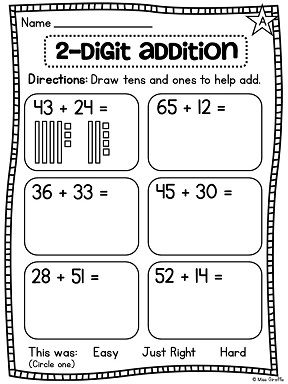 2 digit addition worksheets where students draw place value base 10 blocks to help them find the sum