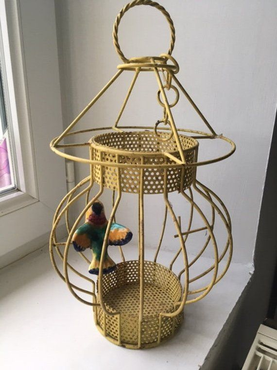 Yellow metal bird cage pendant light shade French with