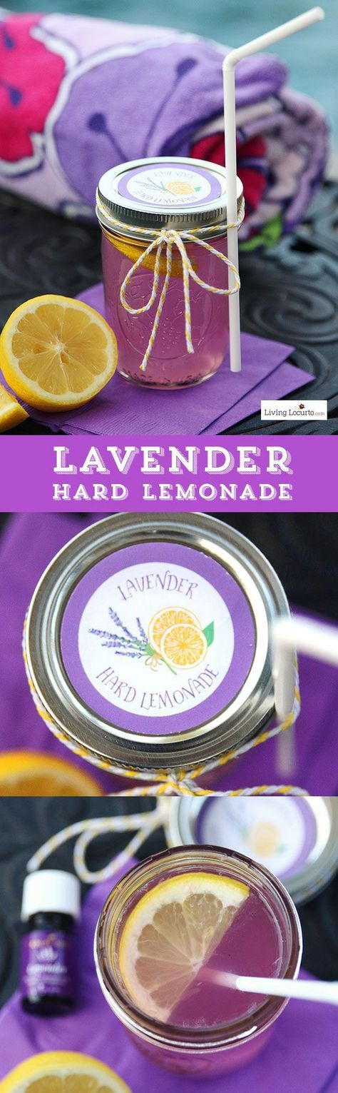 Lavender Hard Lemonade and free printable labels. A cute drink to make by the jar for a party. Smelling the lavender as you sip is refreshing and relaxing. http://LivingLocurto.com