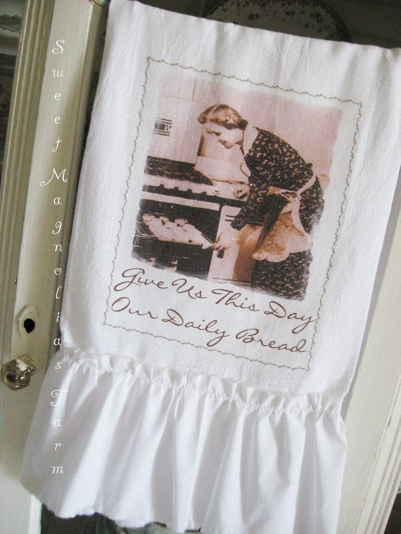 image vintage kitchen craft ideas. flour sack kitchen towel vintage lady baking give us this day for your home farmhouse or cottage image craft ideas y