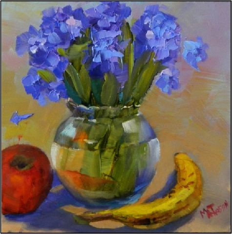 Thinkin' Spring , 6x6, oil, hyacinth, blue hyacinth, purple hyacinth, banana, small studies, quick studies, red apples, painting by artist Maryanne Jacobsen