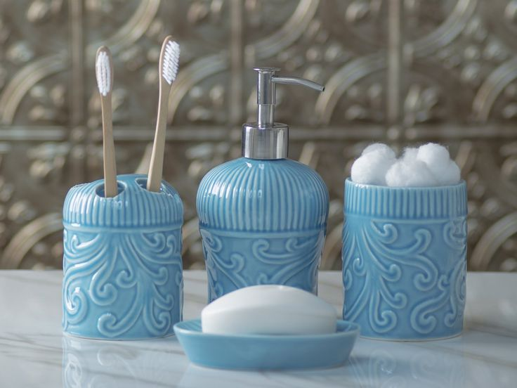Designer 4-Piece Ceramic Bath Accessory Set by Comfify | Includes Liquid Soap or Lotion Dispenser w/ Premium Metal Pump, Toothbrush Holder, Tumbler, Soap Dish | Vintage Floral | Aqua Blue. The perfect blend of elegant luxury design, high-quality materials, and superior functionality