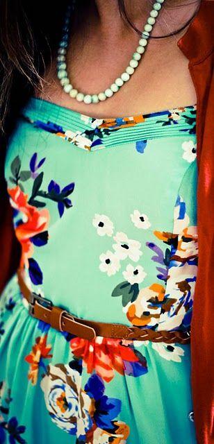 <3 this dress: Colors Combos, Summer Dresses, Mint Green, Floral Prints, Green Dress, Slip Dresses, Dresses And Cardigans, Bright Colors, Floral Dresses