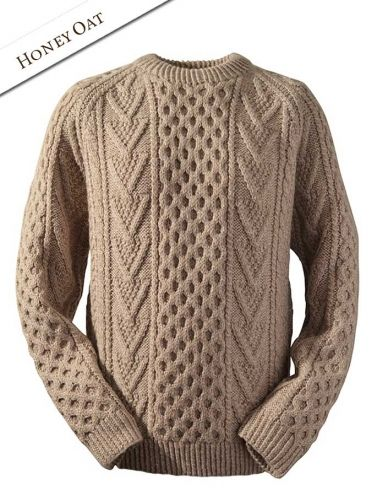 Handknit New Wool Honeycomb Stitch Sweater - Moss